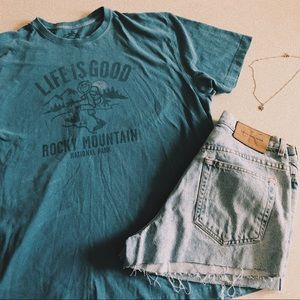 Life Is Good Blue Rocky Mountain T-shirt